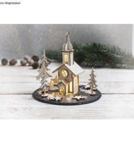 Fa építőkészlet, karácsonyi templom, 37 darabos