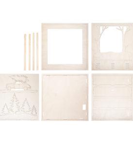Fa építőkészlet 3D-s keret, autó, 30x30x6,6 cm, 14 darabos